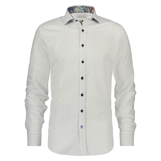 Shirt Basic White Check Leaves