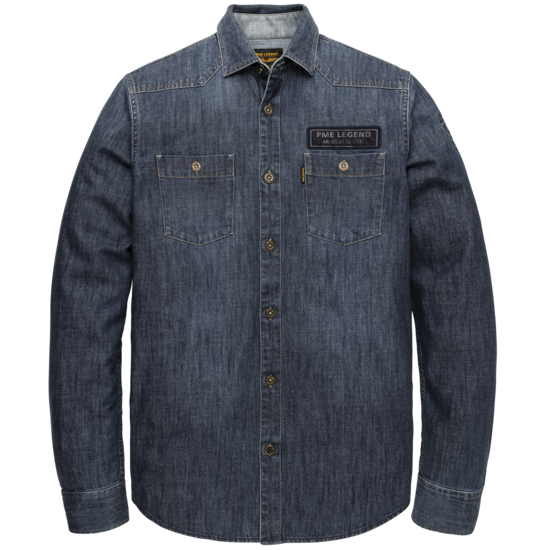 LONG SLEEVE SHIRT DENIM FABRIC WITH BADGES